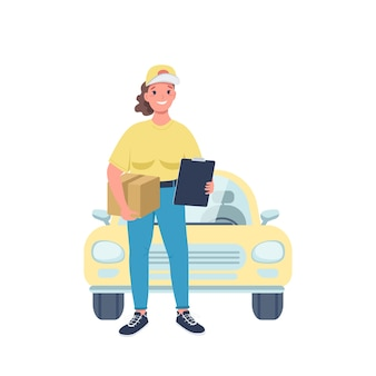 Vrouw koerier egale kleur gedetailleerd karakter. gendergelijkheid op de werkplek. vrolijke vrouw werkzaam in de bezorgservice geïsoleerde cartoon afbeelding voor web grafisch ontwerp en animatie