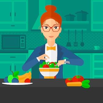 Vrouw koken maaltijd.