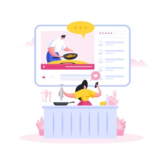 Vrouw koken vis en kijken naar online recept. flat cartoon mensen illustratie