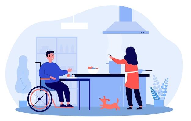 Vrouw kookt voor haar gehandicapte echtgenoot. tekenfilm