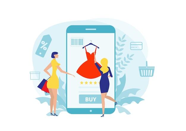 Vrouw koopt dingen in de online winkel. winkelen op sociale netwerken via de platte ontwerpstijl van de telefoon.