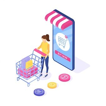 Vrouw koopt dingen op de site.