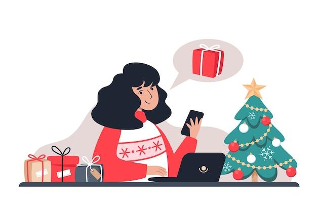 Vrouw koopt geschenken in een online winkel, illustratie in vlakke stijl
