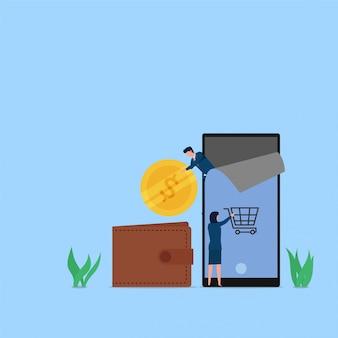 Vrouw koopt op telefoon en hacker stal muntmetafoor van online hacken. zakelijke platte concept illustratie.
