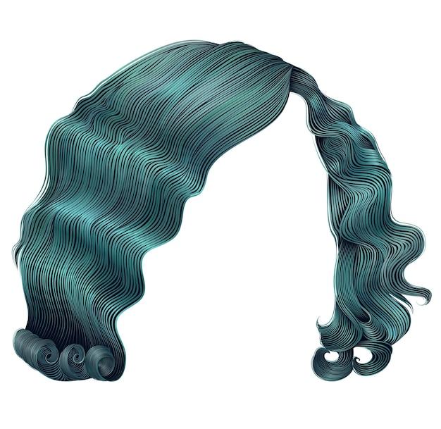 Vrouw korte haren blauw. mode schoonheid retro stijl. realistisch.