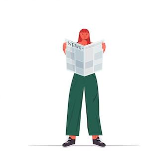 Vrouw krant dagelijks nieuws pers massamedia concept volledige lengte illustratie lezen