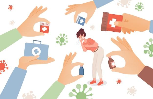 Vrouw krijgt ziek en niezen illustratie
