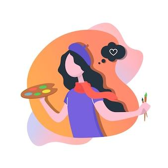 Vrouw kunstenaar schildert