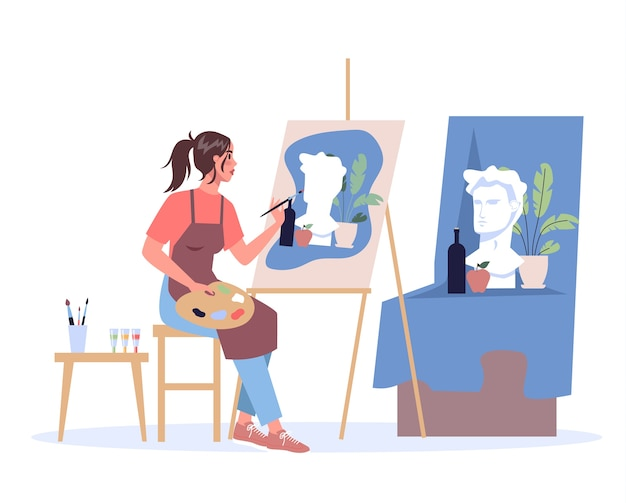 Vrouw kunstenaar zittend op de ezel en schilderen. jonge schilder met palet. creatief beroep.