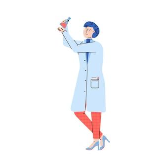 Vrouw laboratoriumonderzoeker of scheikundige cartoon afbeelding