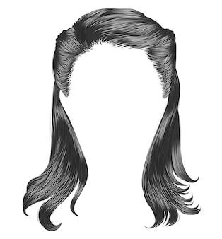 Vrouw lange haren grijze kleuren.