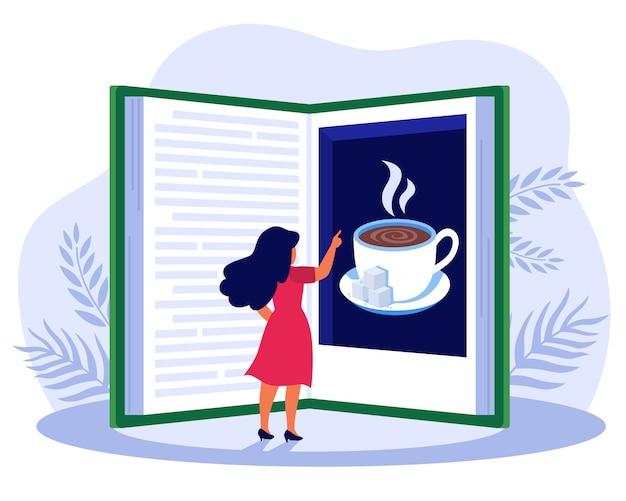 Vrouw leesboek over koffie