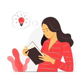 Vrouw leest een boek en denkt een goed idee