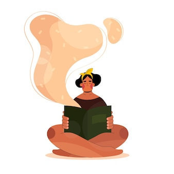 Vrouw leest een boek in een vlakke stijl of meisje zit met een boek in haar handen