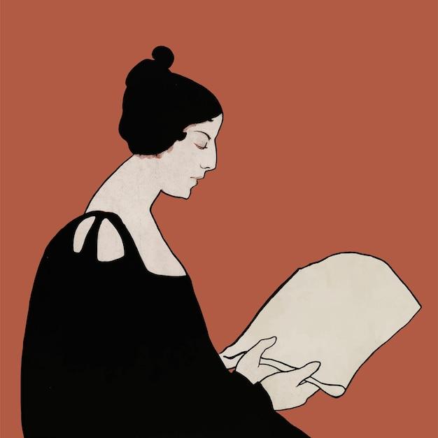 Vrouw leest een vectorkunstdruk uit een krant, remix van kunstwerken van ethel reed
