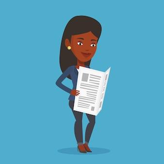 Vrouw leest krant illustratie.