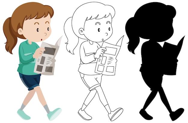 Vrouw leest krantenpapier in kleur en omtrek en silhouet