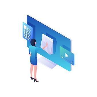 Vrouw leest online nieuws en kijkt naar video isometrische illustratie. vrouwelijk personage bladert door witte evenementbulletins en bladert door webinhoud. modern social media en middelenconcept.