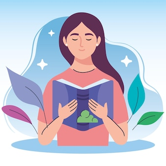 Vrouw leest tekstboek en doorbladert karakter