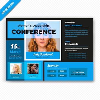 Vrouw leiderschap conferance horizontale flyer