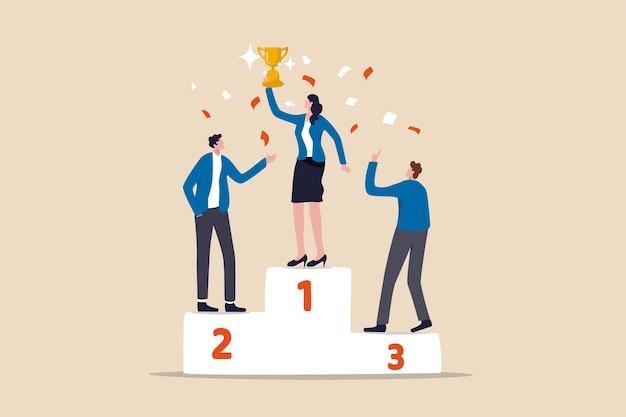 Vrouw leiderschap, lady power om bedrijf of team te leiden om te winnen en zakelijke doelstellingen te bereiken