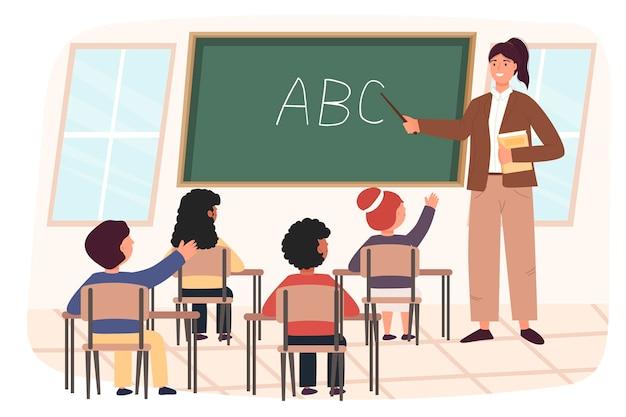 Vrouw leraar en geleerden, kinderen, jongens en meisjes. klas. vector illustratie concept voor school. eigentijdse stijl. leuk karakter.