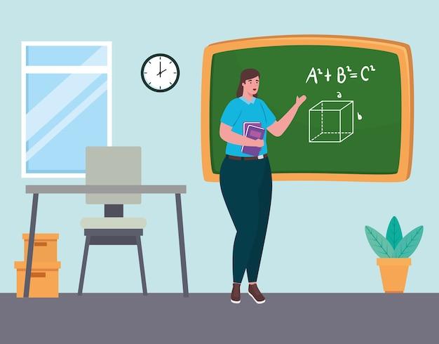 Vrouw leraar met schoolbord in de klas