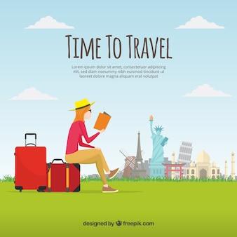 Vrouw lezen en reizen achtergrond