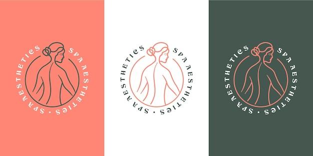 Vrouw lichaam spa esthetiek monoline luxe logo ontwerp