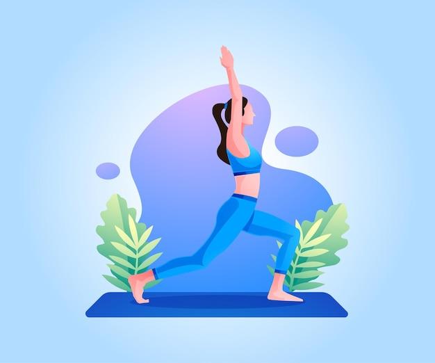 Vrouw lichaam training oefening doet