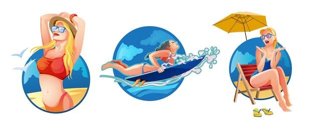 Vrouw liggend op de strandstoel op het strand. surfend meisje op de surfplank. meisje in rode zwembroek, zonnebril en hoed met handen achter haar hoofd. ontspannen meisjes in tropische resort. vector geïsoleerd