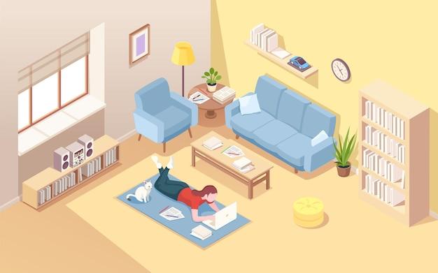 Vrouw liggend op de vloer die werken op afstand doet bij laptop vrouw thuis tapijt met notitieboekje die freelance doet