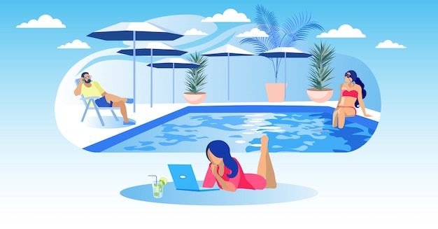 Vrouw ligt op zwembad achtergrond laptop en cocktail
