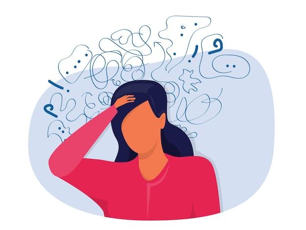 Vrouw lijdt aan obsessieve gedachten hoofdpijn onopgeloste problemen psychologisch trauma