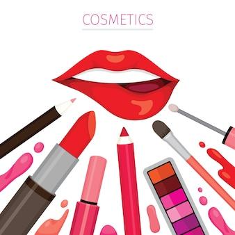 Vrouw lip met lippenstift set