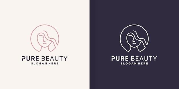 Vrouw logo abstract met creatief lijnconcept premium vector deel 2