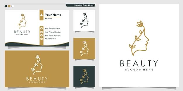 Vrouw logo met schoonheid bloem lijn kunststijl en visitekaartje ontwerp premium vector