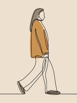 Vrouw loopt éénregelig ononderbroken lijntekeningen
