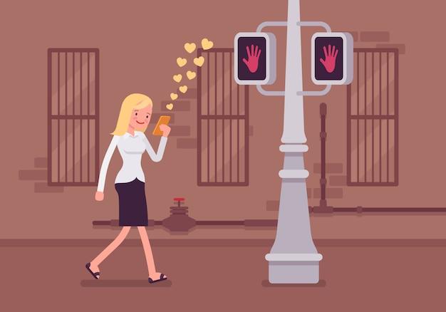 Vrouw loopt met smartphone
