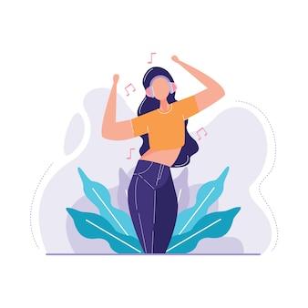 Vrouw luisteren muziek vectorillustratie