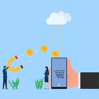 Vrouw maar met telefoon en man stal munten uit metafoor van hack. zakelijke platte concept illustratie.