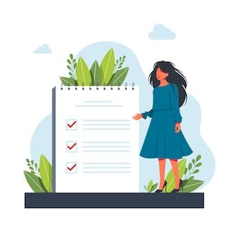 Vrouw, manager die prioriteiten stelt in takenlijst. vrouw die aantekeningen maakt, zijn werk plant, belangrijke punten onderstreept. vectorillustratie voor agenda, checklist, management, efficiëntieconcept