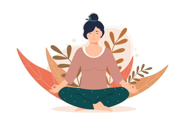 Vrouw mediteert in de natuur en verlaat vrouwelijk karakter zit in de lotushouding