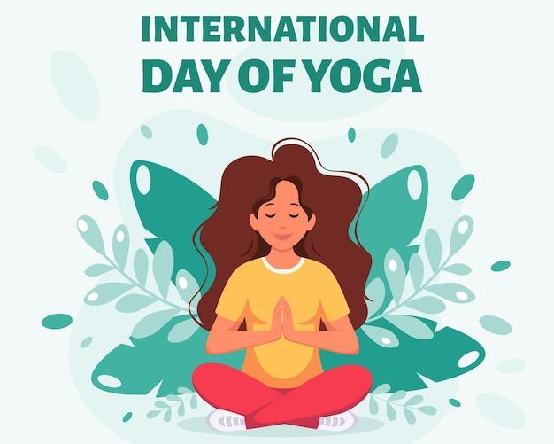 Vrouw mediteert in lotushouding internationale dag van yoga