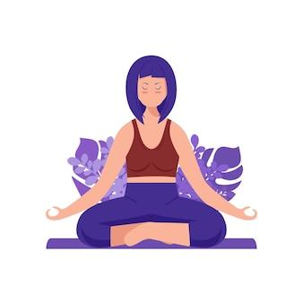 Vrouw mediteert op de illustratie van het natuurconcept voor yoga