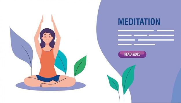 Vrouw mediteren, concept voor yoga, meditatie, ontspanning, gezonde levensstijl in landschap