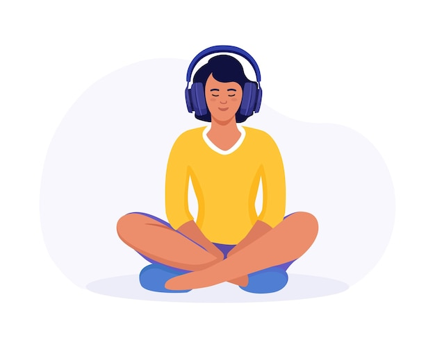Vrouw mediteren in de lotushouding. meisje met koptelefoon beoefenen van geleide meditatie. podcast. online training, radio. karakter met hoofdtelefoon luistert naar muziek en geniet van liedjes in oortelefoons