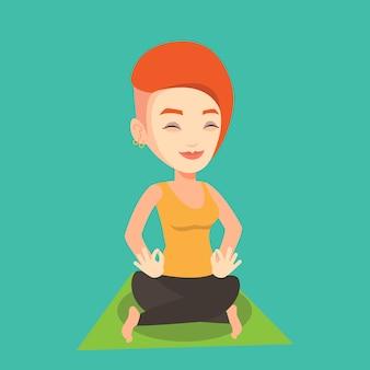 Vrouw mediteren in yoga lotus houding.