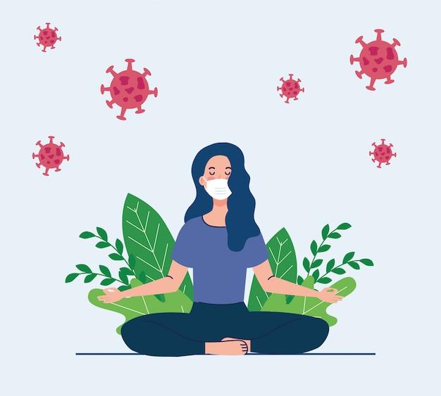 Vrouw mediteren met medisch masker, concept voor yoga, meditatie, ontspannen, gezonde levensstijl in landschap, met cellen covid 19 in de omgeving
