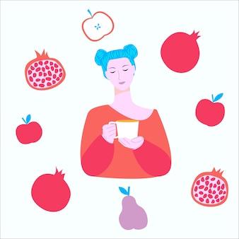 Vrouw meisje met een kopje thee omringd door fruit zomer herfst vruchtbaar seizoen